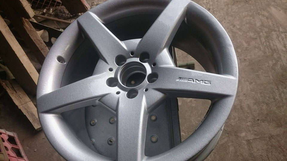 sprayed wheel rim